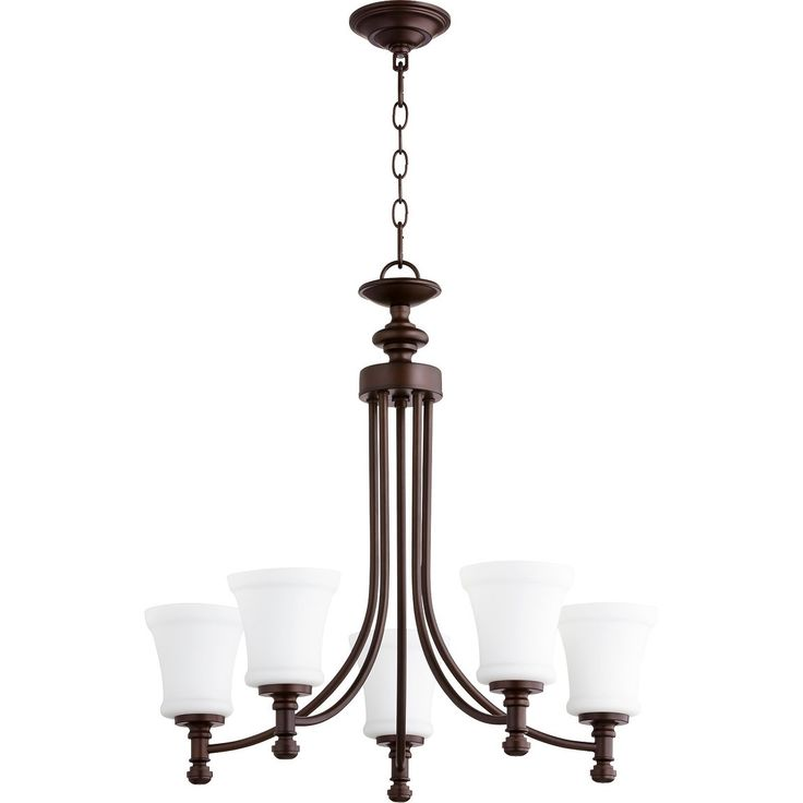 Quorum International Rossington Family Satin Opal Glass 5-light Transitional Chandelier
