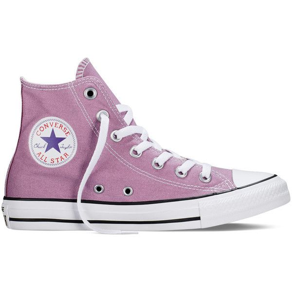 Converse Chuck Taylor All Star Fresh Colors – powder purple Sneakers (£34) ❤ liked on Polyvore featuring shoes, sneakers, converse, powder purple, star shoes, star sneakers, purple hi tops, high top trainers and purple shoes