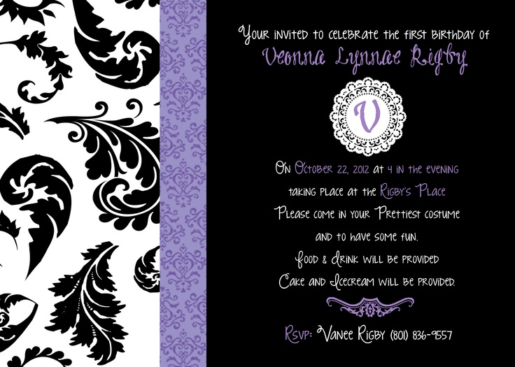 59 best Birthday Invites images – Damask Birthday Invitations