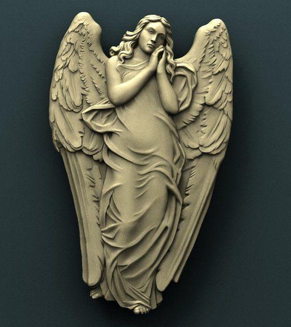 3d STL Model Relief Dark Angel for CNC Router Aspire Artcam