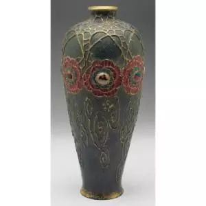 Amphora Gres Bijou Dornenkrone vase large tapered shape with raised stylized floral designs covered in colorful glazes marked #3256 6''w x 14''h