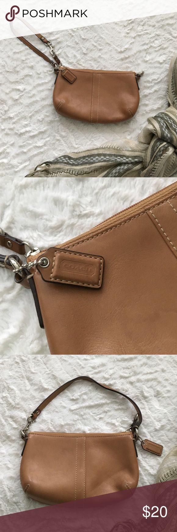 "Tan Coach Wristlet Simple tan Coach wristlet. It's been used a few times but it's in good condition. No marks at all in the lining inside and the leather looks good on the outside too. It has a strap that you can adjust to change it from a wristlet to a small purse. It's 7.5"" by 4"". Coach Bags Clutches & Wristlets"