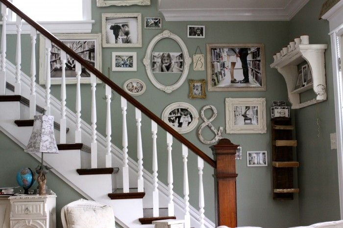 Photo Wall - paint color is Faded Silk by Ralph LaurenWall Colors, Ideas, Stairs, Photo Walls, Galleries Wall, Photos Wall, White Frames, Stairways, Pictures Wall