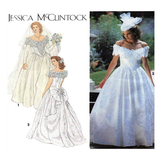Jessica Mcclintock Wedding Gown Bridal Dress Simplicity Etsy Wedding Gown Patterns Sewing Wedding Dress Wedding Dresses