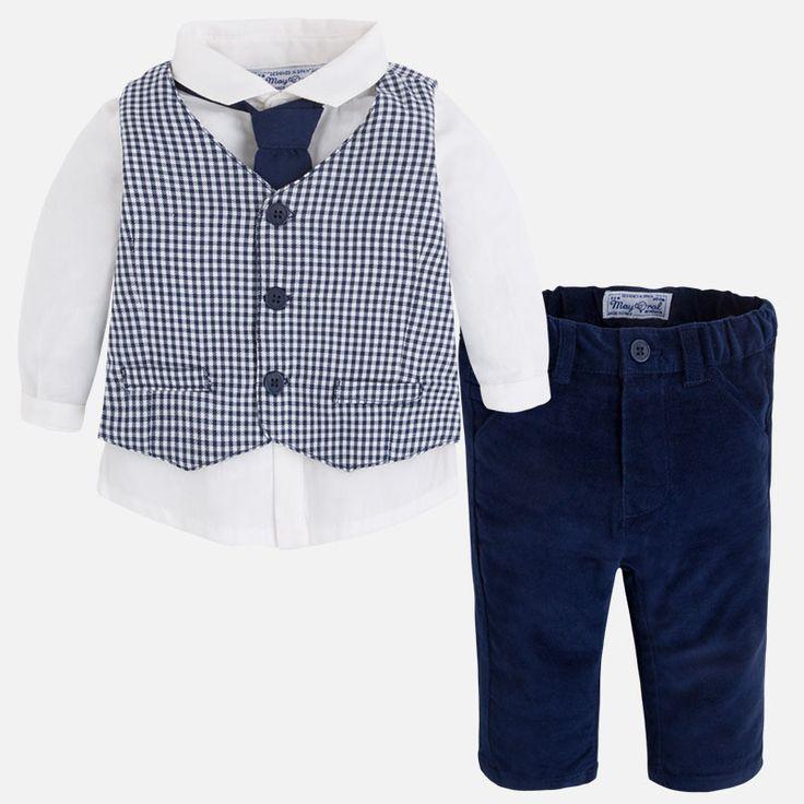 Mayoral Erkek Bebek Kışlık Gömlek Kravat Yelek Pantolon 4lü Takım Koyu Mavi