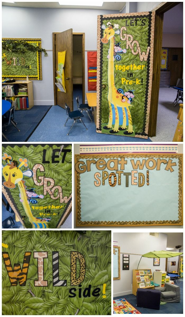 Love this Jungle Safari themed classroom decor!  The colors are bright and cheerful and it all flows so well together!  Love the animal print accents