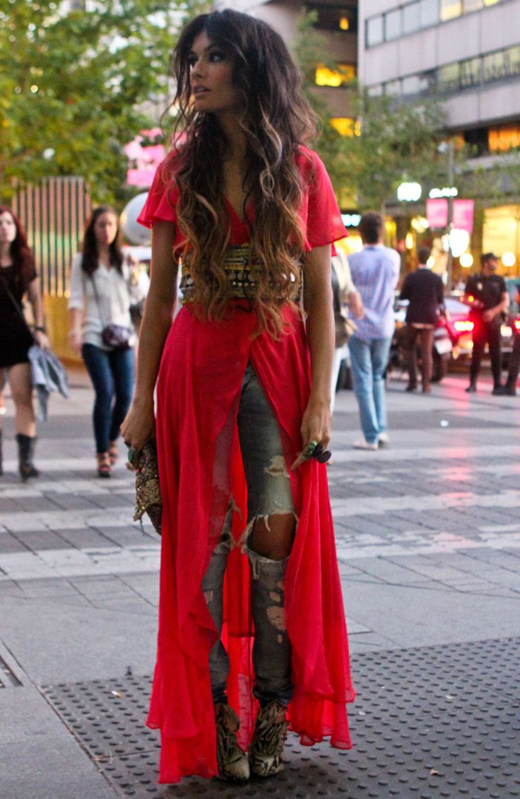 VENO From Madamederosa. (DRESS Almost Famous London Old, JEANS Zara Old, SHOES Christian Louboutin, BAG Accesorize Old, RINGS Azizeh