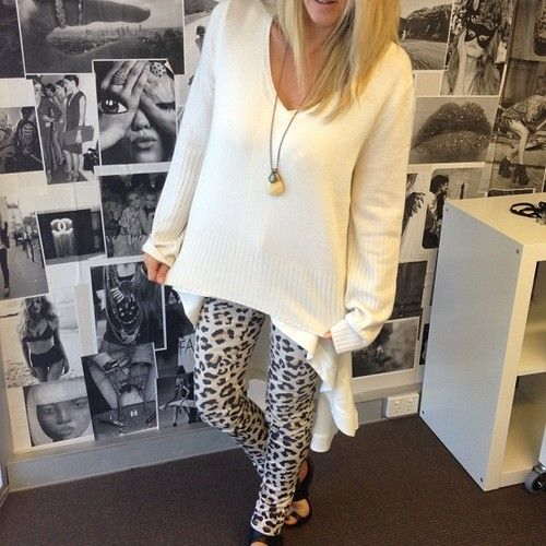Cheetah leggings with big sweater just got this outfit :)