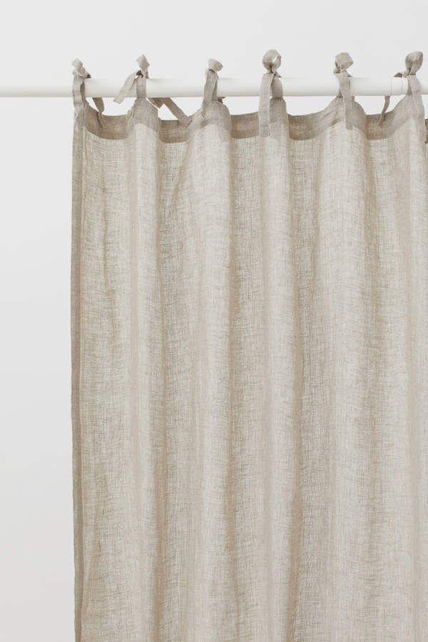 H M 2 Pack Linen Curtain Panels Beige Linen Curtain Panels