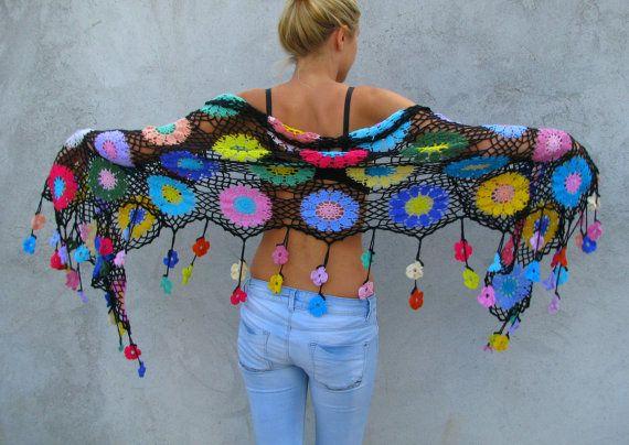 Women Accessories Colorful Crochet shawl