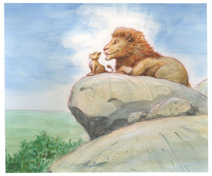 Simba and Mufasa 16 Stunning Pieces of Concept Art From The Lion King