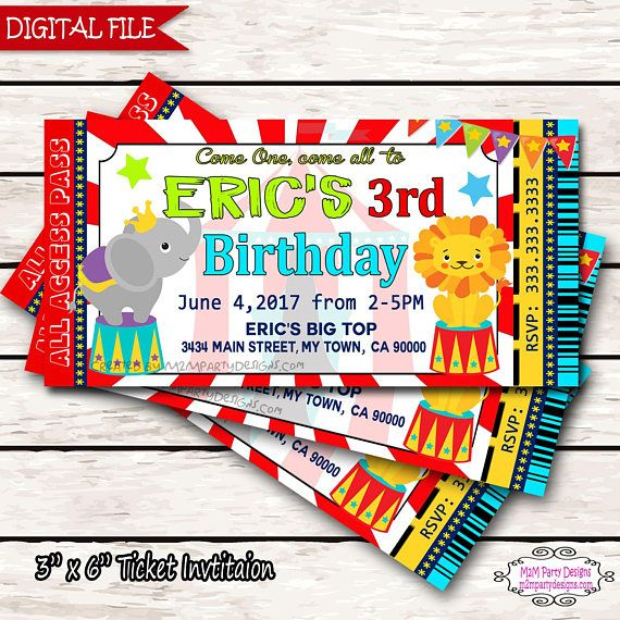 Circus Carnival Birthday Party Ticket Invitation Printable Party