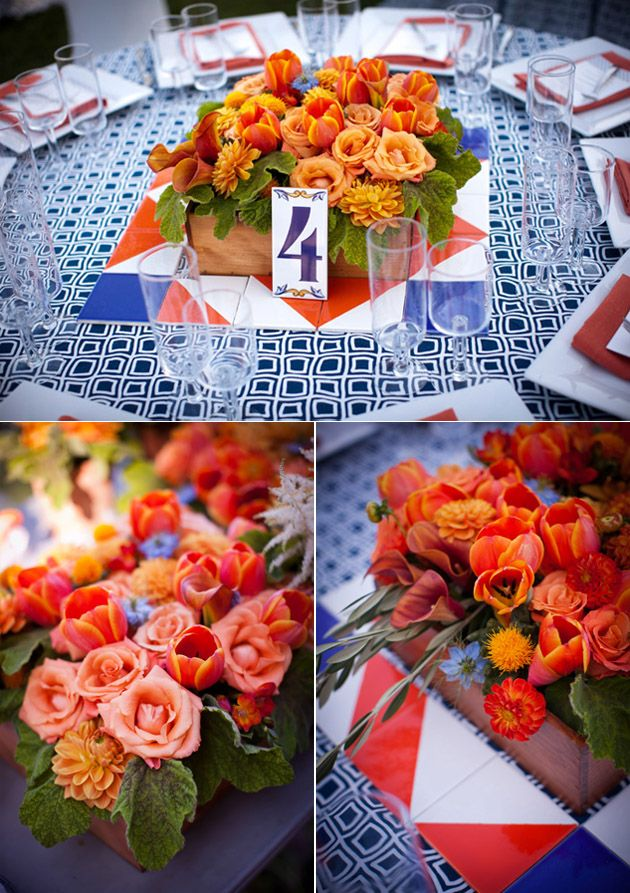 blue and orange spanish wedding inspiration for mobella events wwwmobellaeventscom