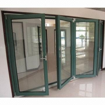 Thermal Break Aluminum Folding Doors, Available In Green, Double Tempered  Glass, German Hardware