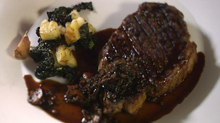 Steak bordelaise with cavolo nero from James Martin's Home Comforts for Christmas