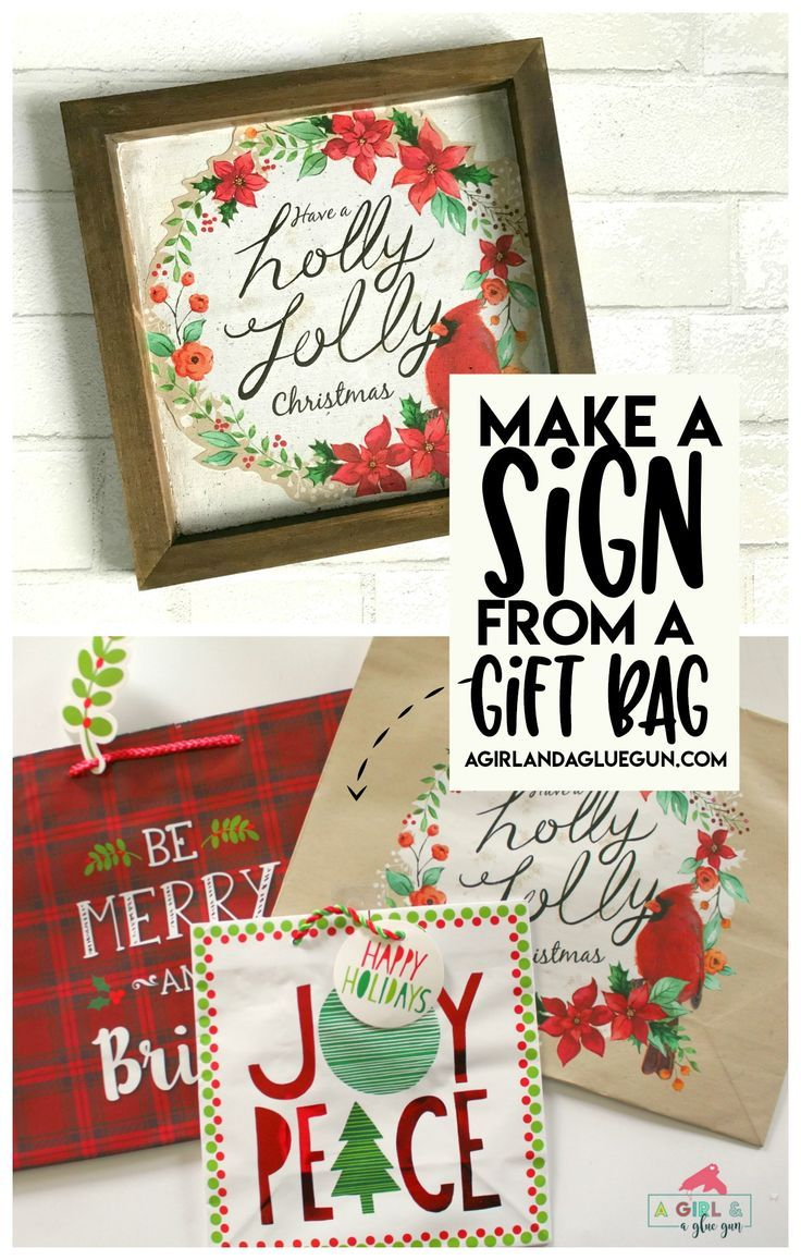 Christmas sign Hack using gift bags - A girl and a glue gun #christmas