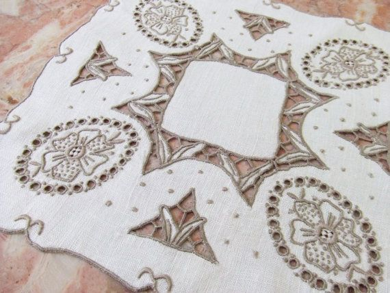 Vintage Linen Centerpiece Doily with Madeira Embroidery by LinensandThings, $20.00