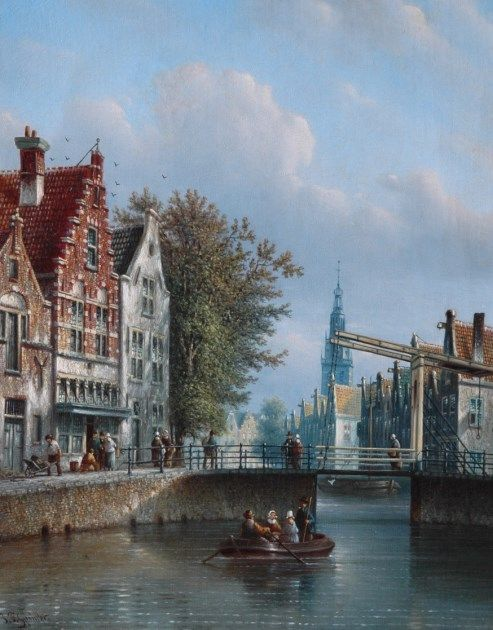 Johannes Franciscus Spohler (Rotterdam 1853-1894 Amsterdam) A sunlit canal, with a church beyond - Dutch Art Gallery Simonis and Buunk Ede, Netherlands.