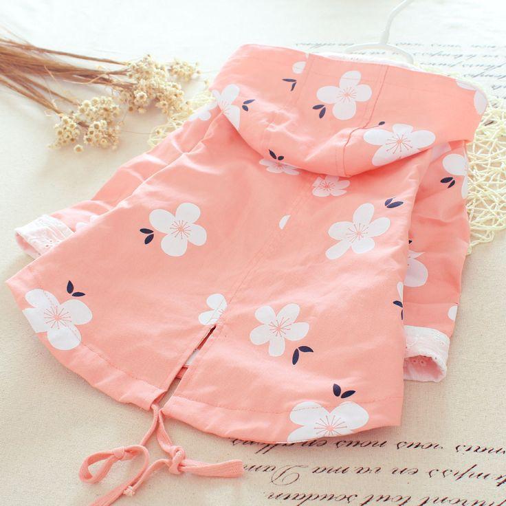 2-5T Детская куртка двубортное девушки Розовый Ветровка Весна Зима Розовый Ветровка Цветочные пальто кардигана толстовки для девочек