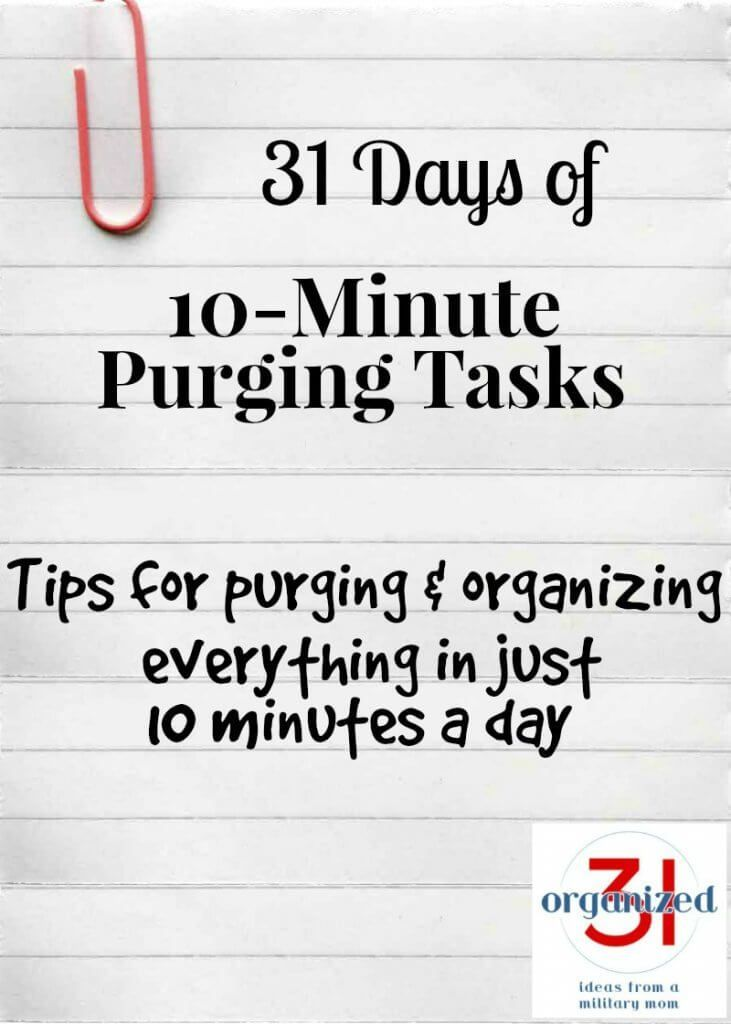 Tips for clearing clutter by purging clutter in just 10-minutes a day. Get organized and declutter today. #declutter #organization