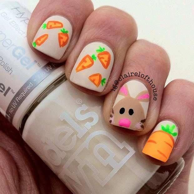 10 Easy and Simple Easter Nail Art Designs: #3. CUTE MATTE DESIGN #easternails
