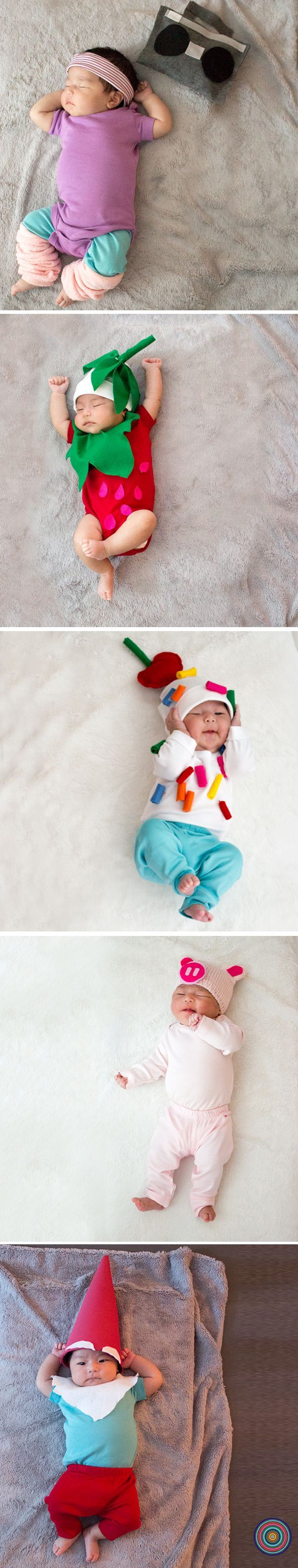 Easy DIY Baby Costumes: Workout Baby • Strawberry • Ice Cream Sundae • Piglet • Gnome. Super soft basics + simple accessories = easy, cozy costumes for baby.
