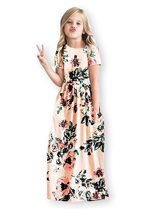 2ad152fab8a  Girls Floral Flared Pocket Maxi Short Sleeves Casual Elegant Summer Long   Dress (6-12 Years Old)  TweenFashion  TweenDresses  MaxiDresses