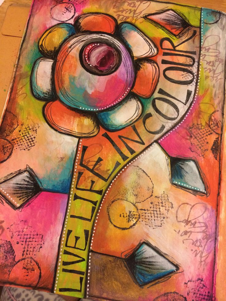 Live life in colour. Art journal page                              …