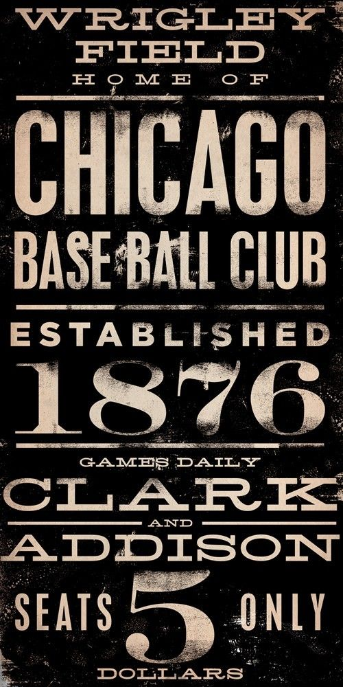 Wrigley Field Chicago Cubs Baseball  vintage style typography art on canvas 10 x 20 x 1.5 inches. $90.00 USD, via Etsy ... except itd have to be NYY