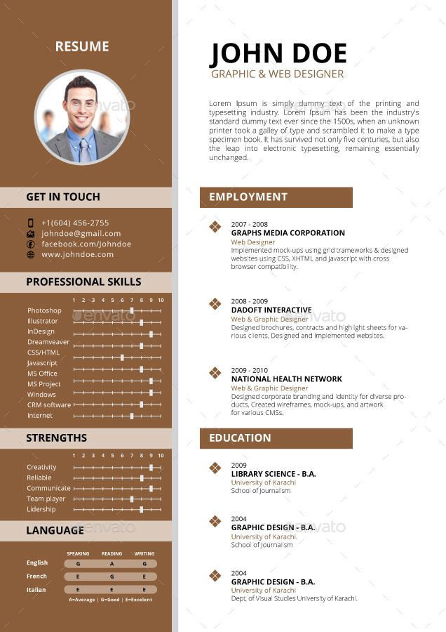 Resume Resume Template Resume Templates Web Design