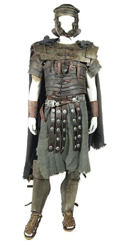 "Full set of aged Roman armour from the movie ""Spartacus, blood and sand""."