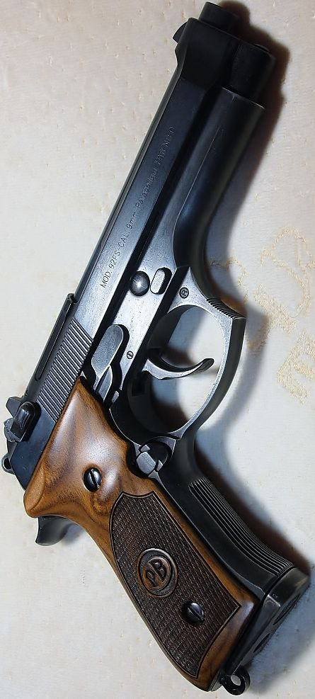 Beretta 92fs in Blue with Walnut PB Logo grips with checkering. PLEASE SEE OUR STORE HAVE PB BERETTAS AVAILABLE: http://stores.ebay.com/gce-sports