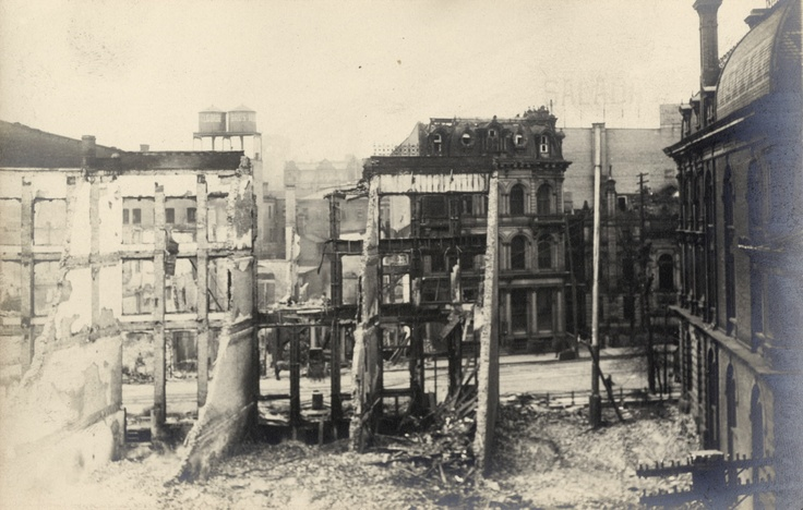 Aftermath of the Great Toronto Fire (April 19, 1904): This view of Front St. West, looking north (from the south side of the street), is just west of Yonge St. The Customs House is on the right of the picture.