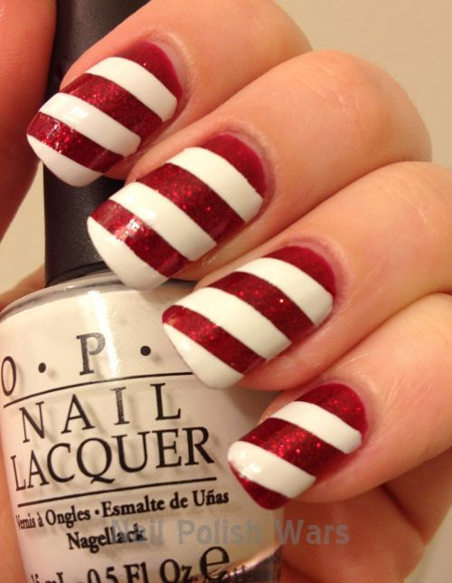 Nails idea for Christmas! candycane christmas holiday red white nailart