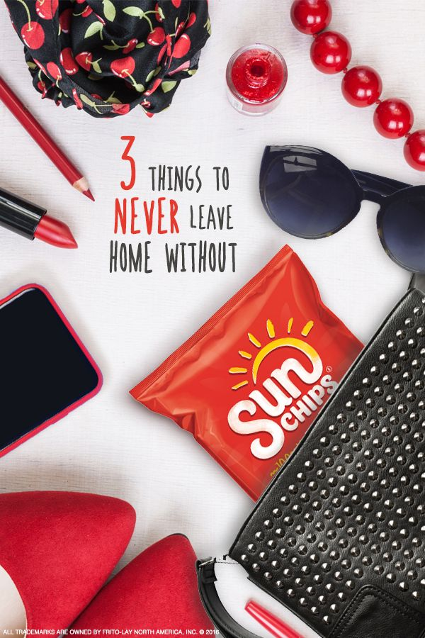 When you're on-the-go, your purse is more than an accessory, it's a lifeline. What's inside matters. Here are a few of the things you can't leave home without: bold lipstick that demands attention, a statement scarf to amp up any outfit and delicious whole grain SunChips® snacks that give you the energy to keep going wherever you decide the day should take you.