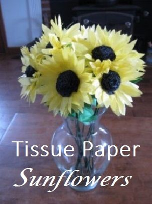 step-by-step direction to make beautiful tissue paper sunflowers. Costs less than $5 for a dozen