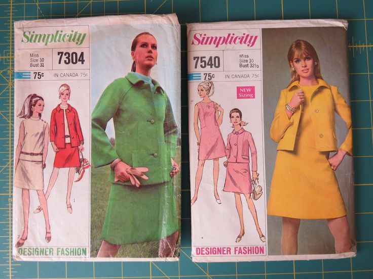 Designer Fashion Suits, Dress, Jacket in 2 Styles, Overblouse, Skirt - Retro Mod Styles, Simplicity Patterns 7304 & 7540 -  Miss Size 10 by EMStreasureseekers on Etsy