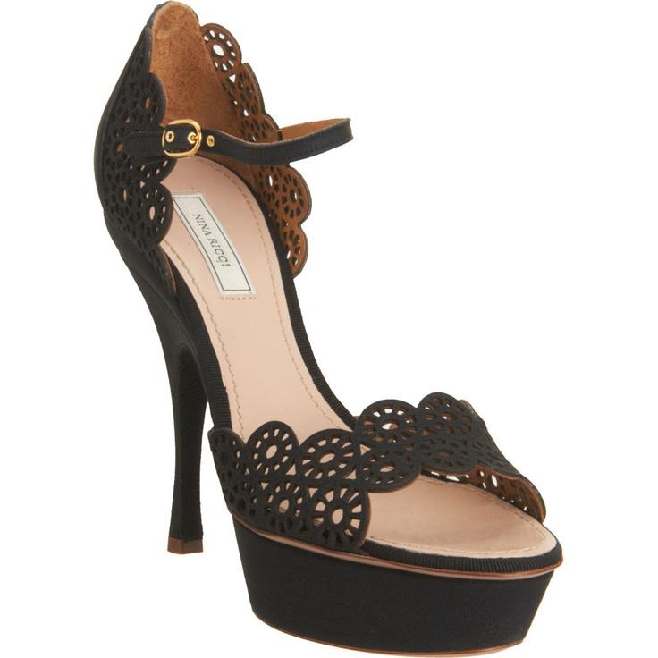 lady like: Shoes, Black Lace, Wagon Wheels, Lace Cutout, Nina Ricci, Wheels Cutout, Ricci Cutout, High Heels, Cutout Sandals