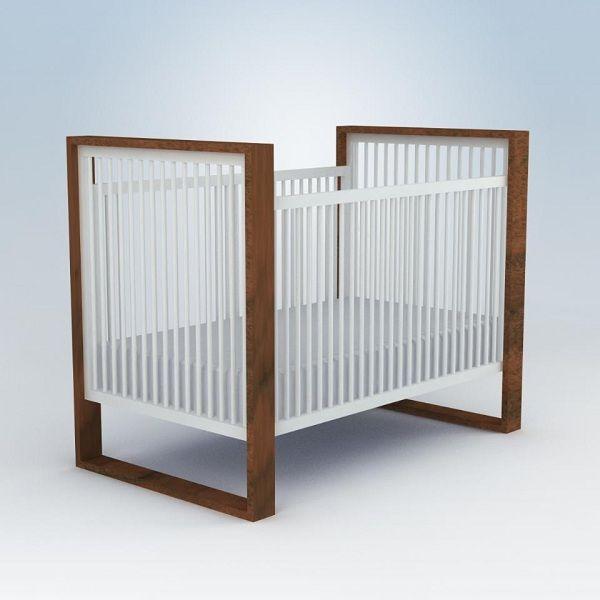 Austin Modern Hardwood Baby Crib In White/Wood Tones