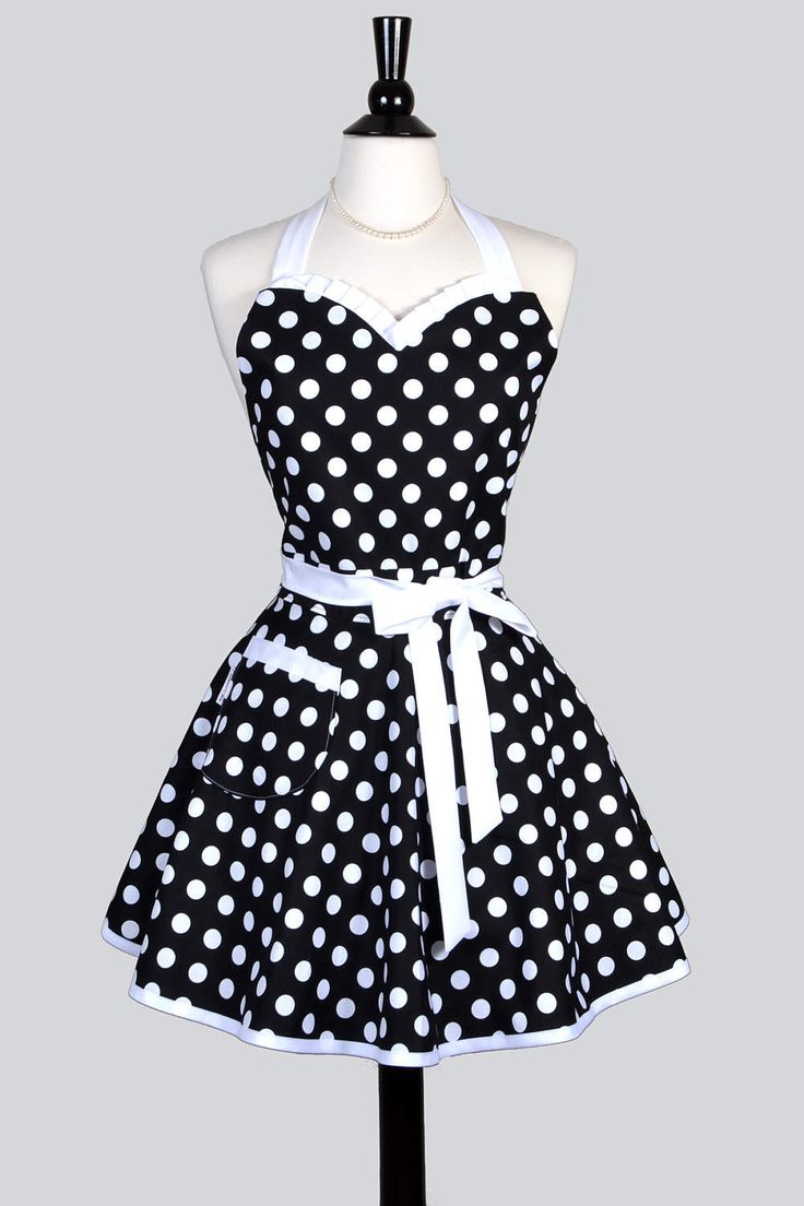 Sweetheart Retro Apron   Womens Sexy Black Polka Dot Flirty Pinup Apron  With Personalized Monogram Option (DP)