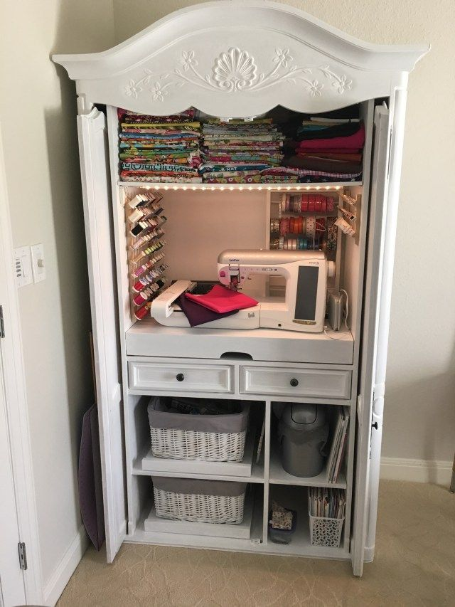 DIY Sewing Cabinet From An Old Media Armoire | Remodelicious.com – Aria ✻ Remodelicious