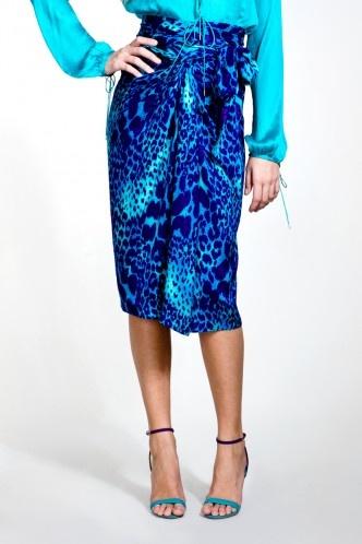 Oh, that color!    Ferragamo. Silk jacquard skirt in an animal print.