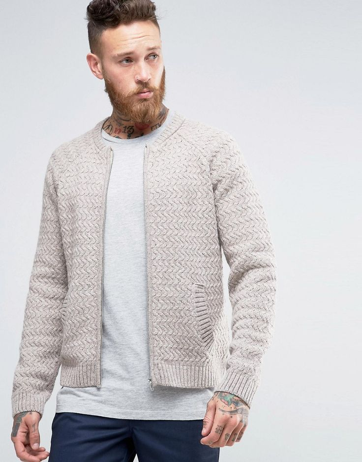 ASOS+Knitted+Bomber+Jacket+in+Wool+Mix
