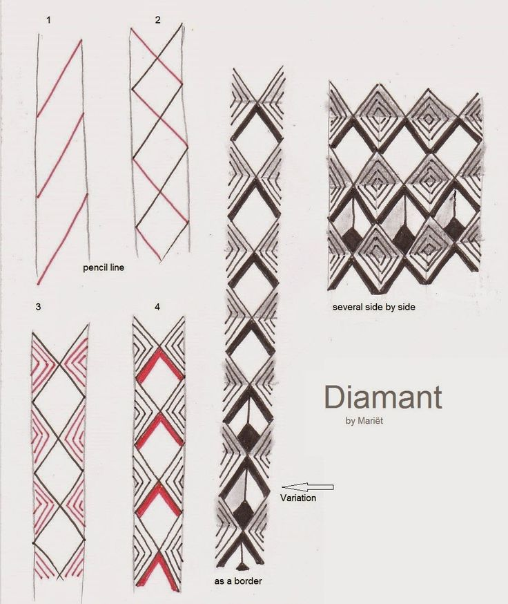 """Here's my new tangle """"Diamant""""  You can use it as a border, but also side by side."""