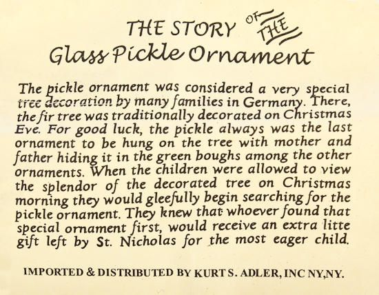 Pickle Poem Legend Of The Pickle Vintage Treasures Ornaments