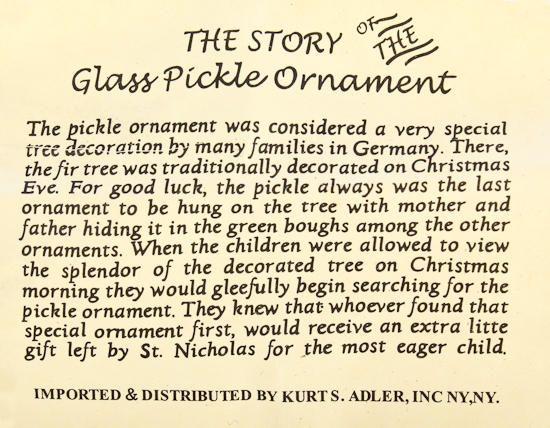 pickle ornament tradition - Google Search | Pickle ornament ...