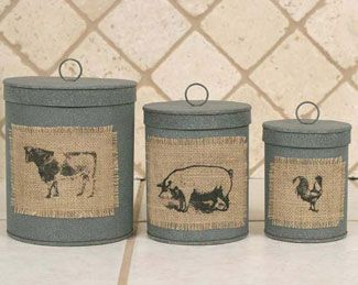 Set Of Three Canisters With Burlap Patches Barn Roof Farm Animals