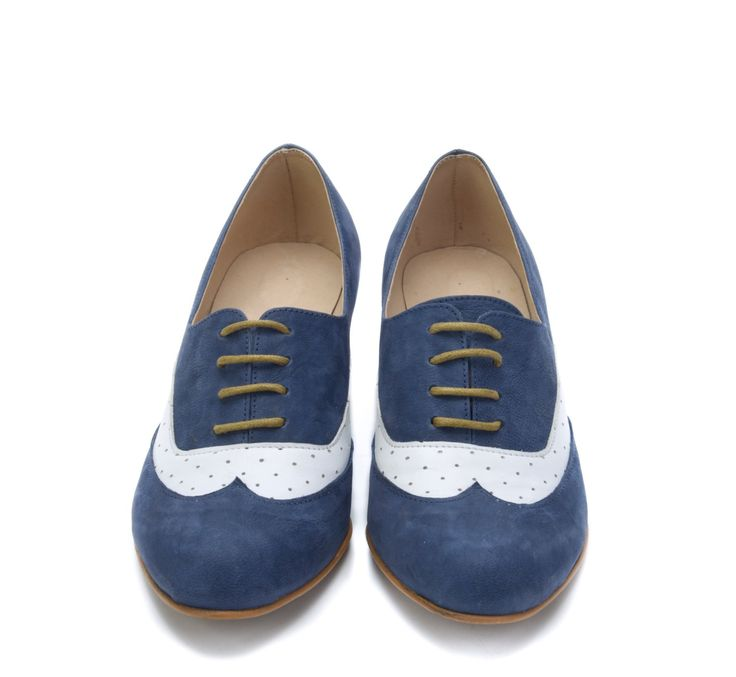 Blue And White Leather Shoes / Women High Heel Shoes / Oxford Lacing Shoes / Wood Heels Shoes / Casual Shoes / Classic Evening Shoes