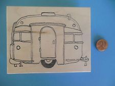 SCARCE Airstream Style Trailer RV Camper Wood/Rubber Ink Stamp - NEW
