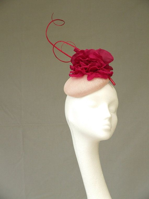 Pale pink fascinator headpiece by CoggMillinery on Etsy